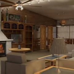 اتاق نشیمن توسطAlfaro Arquitecto 3A3, راستیک (روستایی)