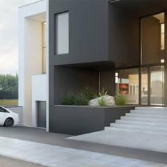 Modernistyczny dom jednorodzinny z basenem od Budownictwo i Architektura Marcin Sieradzki - BIAMS Nowoczesny Granit