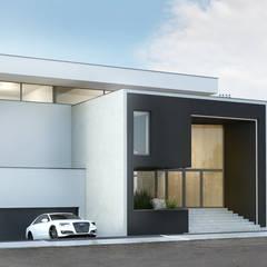 Modernistyczny dom jednorodzinny z basenem od Budownictwo i Architektura Marcin Sieradzki - BIAMS Minimalistyczny Szkło