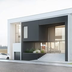 أبواب رئيسية تنفيذ Budownictwo i Architektura Marcin Sieradzki - BIAMS, تبسيطي زجاج