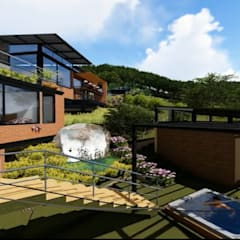 Casa los Arrayanes : Tinas de hidromasaje de estilo  por FRACTAL Arquitectura, Moderno Cerámico
