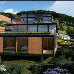 Casa los Arrayanes : Casas campestres de estilo  por FRACTAL Arquitectura, Moderno Contrachapado