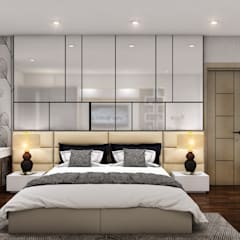 Master Bed with Glass Backwall: modern  by Square Arc Interior,Modern