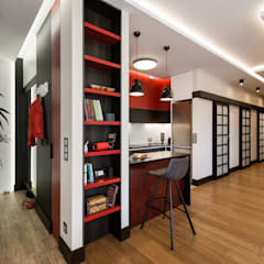 Mieszkanie w stylu orientalnym Azjatycki salon od Monika Hardej Architekt Azjatycki