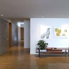 Apartamento L&R Pasillos, vestíbulos y escaleras de estilo moderno de entrearquitectosestudio Moderno Madera Acabado en madera