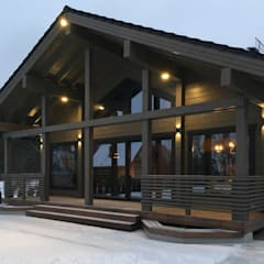 """House made of glued laminated timber 164 sq.m, project """"Comfort"""":  Wooden houses by Archiline Wooden Houses, Modern"""