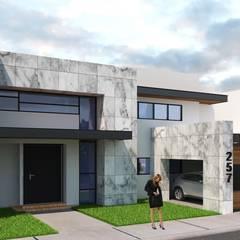 Fachadas TRC: Villas de estilo  por AJR ARQUITECTOS, Moderno