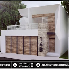 Fachadas TRC: Casas de campo de estilo  por AJR ARQUITECTOS, Moderno