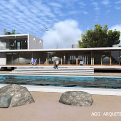 Prefabricated home by AOG, Mediterranean کنکریٹ