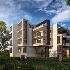 عمارة سكنية:  منزل عائلي كبير تنفيذ Karim Elhalawany Studio, حداثي
