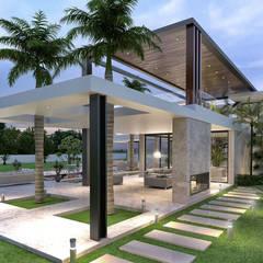 فيلا سكنية فاخرة:  منزل عائلي صغير تنفيذ Karim Elhalawany Studio, حداثي