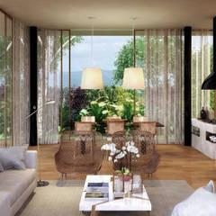 Casa Um: Salas de estar  por Viviane Cunha Arquitectura,Moderno