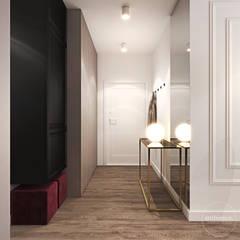 Mieszkanie z bordowym akcentem Nowoczesny korytarz, przedpokój i schody od Ambience. Interior Design Nowoczesny