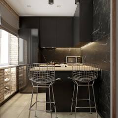 Квартира на улице Романова: Встроенные кухни в . Автор – AKANT Design, Лофт Мрамор