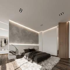 Lujosa Residencia moderna : Recámaras de estilo  por Rebora, Moderno Concreto