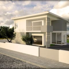 casa Abrantes por Emprofeira - empresa de projectos da Feira, Lda. Moderno Granito