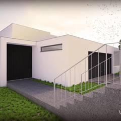 casa C: Escadas  por Emprofeira - empresa de projectos da Feira, Lda.,Moderno Granito