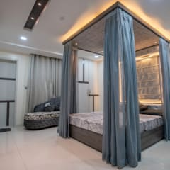 Kleine slaapkamer door Nabh Design & Associates, Modern Houtcomposiet Transparant