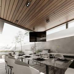 Impactante diseño de residencia moderna: Terrazas de estilo  por Rebora, Moderno Madera Acabado en madera