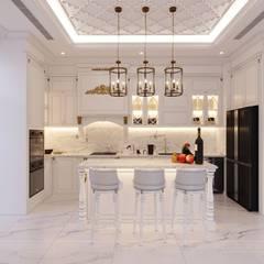Thiết kế biệt thự Tân Cổ Điển 2 tầng sang trọng và đẳng cấp Châu Âu:  Nhà bếp by ICON INTERIOR, Kinh điển