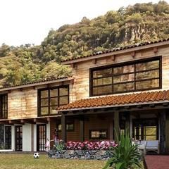Cabaña Portezuelas.: Casas de madera de estilo  por MARQ. Arquitectos., Rústico Piedra