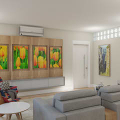 Tropical style media rooms by Elaine Hormann Architecture Tropical Solid Wood Multicolored