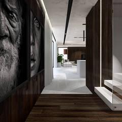 Projekt wnętrza nowoczesnego domu, Wrocław Nowoczesny korytarz, przedpokój i schody od IN studio projektowania wnętrz Nowoczesny