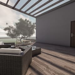 Minimalist balcony, veranda & terrace by Anastomosis Design Lab Minimalist