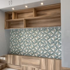 Bed & Headboard with Wall Paper in the back drop Modern style bedroom by U and I Designs Modern