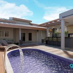 منازل التراس تنفيذ Glaucia Nocete Arquitetura e Interiores , تبسيطي