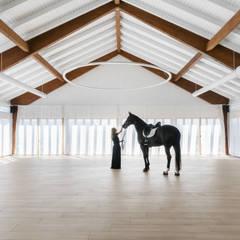 Salon de eventos Caseta Nova: Salones de eventos de estilo  de yuû arquitectura, Moderno Madera Acabado en madera