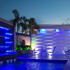 Novedosos diseños de Fuentes de agua con escalas: Piscinas de jardín de estilo  por Creart Acabados, Moderno