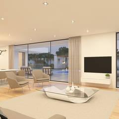 CASA I&J - Moradia em Oeiras - Projeto de Arquitetura: Salas de estar  por Traçado Regulador. Lda,Moderno Granito