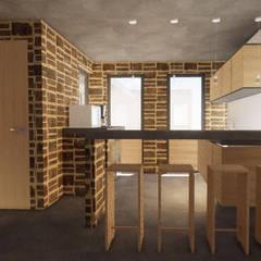 Cocinas pequeñas de estilo  por Designo Arquitectos, Rústico Ladrillos