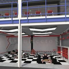 Pits Kartódromo : Espacios comerciales de estilo  por GARAY ARQUITECTOS, Moderno