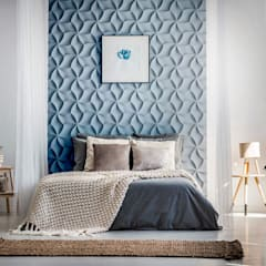 Schlafzimmer Wandgestaltung mit 3D Effekt und Betonlook Klassische Schlafzimmer von Loft Design System Deutschland - Wandpaneele aus Bayern Klassisch