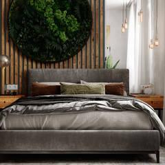 Уютный loft: Маленькие спальни в . Автор – Студия NATALYA SOLNTSEVA Interiors Design, Лофт Дерево Эффект древесины
