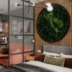Small bedroom by Студия NATALYA SOLNTSEVA Interiors Design, Industrial Wood Wood effect