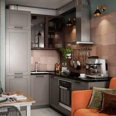 Kleine keuken door Студия NATALYA SOLNTSEVA Interiors Design, Industrieel Houtcomposiet Transparant