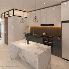 Bishan St 23:  Built-in kitchens by Swish Design Works,Modern Marble