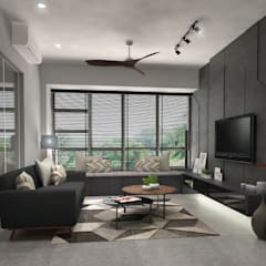 Clementi Ave 1 Industrial style living room by Swish Design Works Industrial Plywood