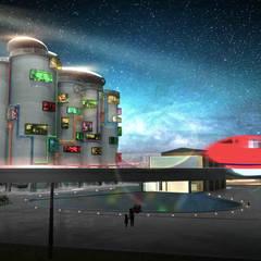 【都市設計】四川角色扮演遊戲園區設計:  飯店 by 亚卡默设计 Akuma Design , 現代風 水泥