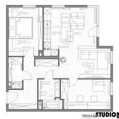 Apartament przy ul. Lema Nowoczesne ściany i podłogi od MIKOŁAJSKAstudio Nowoczesny