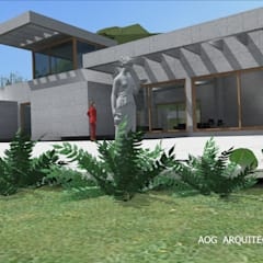 Prefabricated home by AOG, Mediterranean Concrete
