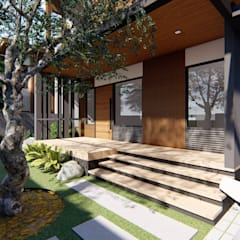 2-Storey Residence South of Manila:  Terrace by Structura Architects, Modern Wood Wood effect