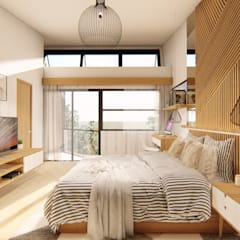 2-Storey Residence South of Manila Tropical style bedroom by Structura Architects Tropical Wood Wood effect