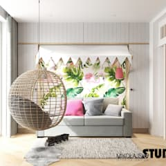Media room by MIKOŁAJSKAstudio , Eclectic