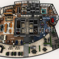 Professional 3D Virtual Floor Plan of Apartment's Rooftop Design with Terrace ideas by architectural design studio:  Wooden houses by Yantram Architectural Design Studio, Modern