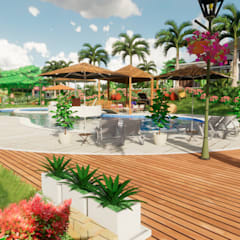 Paisajismo en vivienda campestre: Terrazas de estilo  por ROQA.7 ARQUITECTURA Y PAISAJE, Tropical