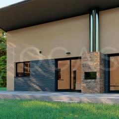 Casas prefabricadas de estilo  por QCASA.Madrid. Viviendas industrializadas eficientes de hormigón, Rústico Concreto